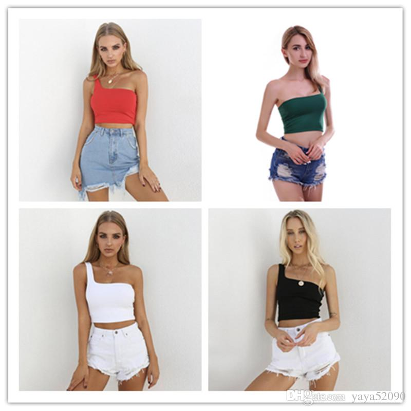 714d9179386bf 2019 Women DesignerTops Sexy One Shoulder Top Wome Bare Midriff Top Shirt  Black White Solid Color Woman Clothes Fashion Drop Shipping From Yaya52090