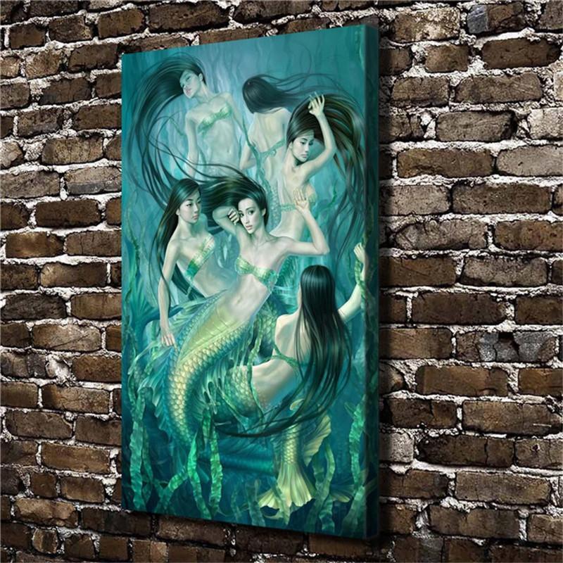 Satın Al Deniz Yosunu Mermaid Hd Tuval Baskı Yeni Ev Dekorasyon