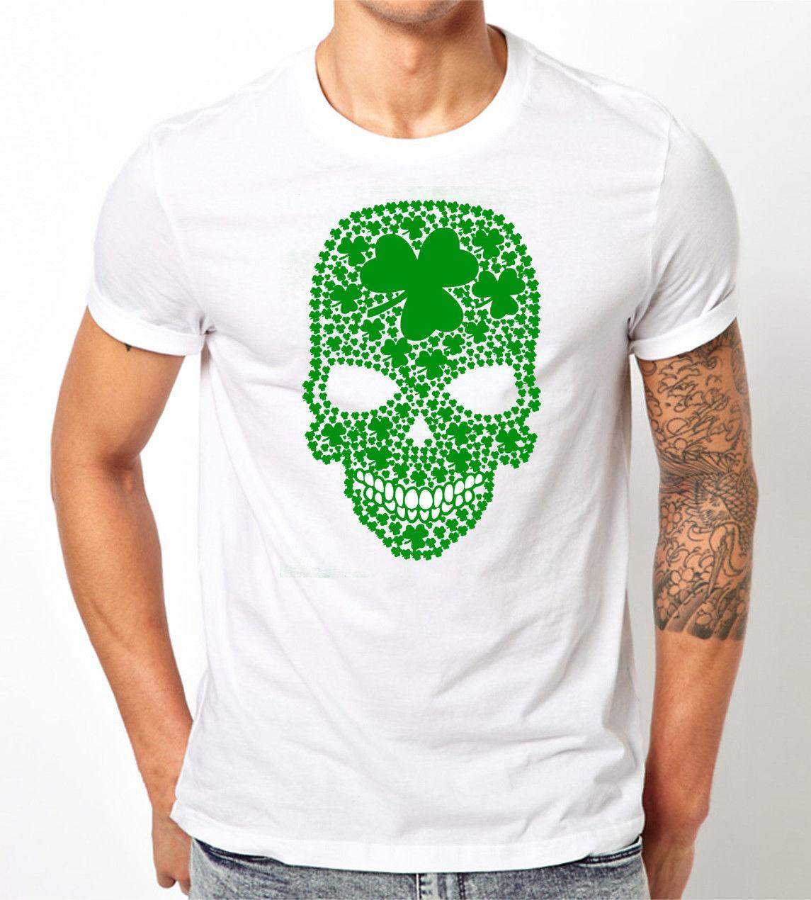 3eed47ce Shamrock Skull Unisex t-shirt. Funny st Patrick's day shirt parade Irish  green Cotton Men T Shirts Classical Top Tee Basic Models