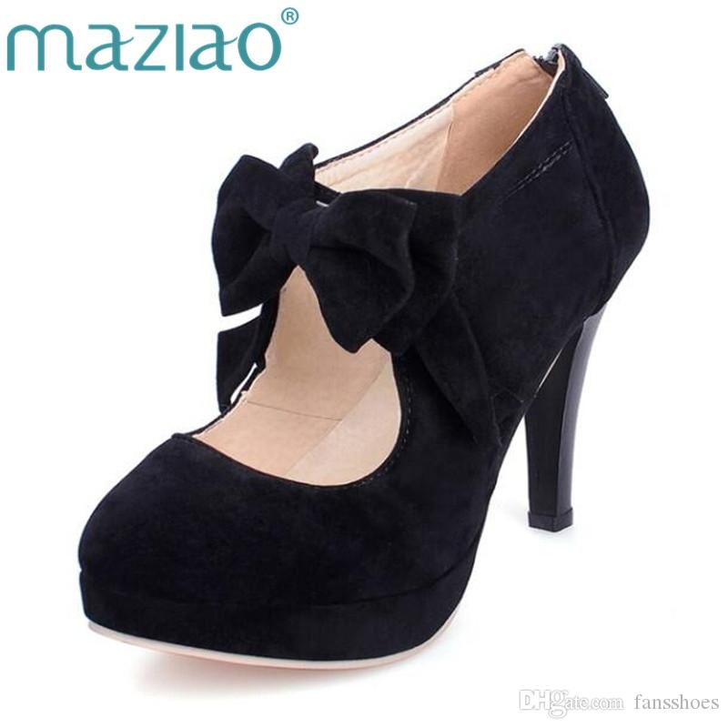 e7f155745ff MAZIAO Plus Size 32 43 Fashion Vintage Woman Small Bowtie Platform Pumps  Ladies Sexy High Heels Shoes For Women Wedding Shoes  9724 Clogs For Women  Cheap ...