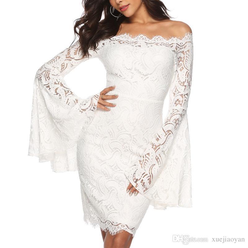 97dcaef7d Compre Nova Moda Inverno 2019 Mulher Por Atacado Roupas De Renda Branca Vestidos  De Noiva Mulher Festa Prom Dress Roupas De Xuejiaoyan