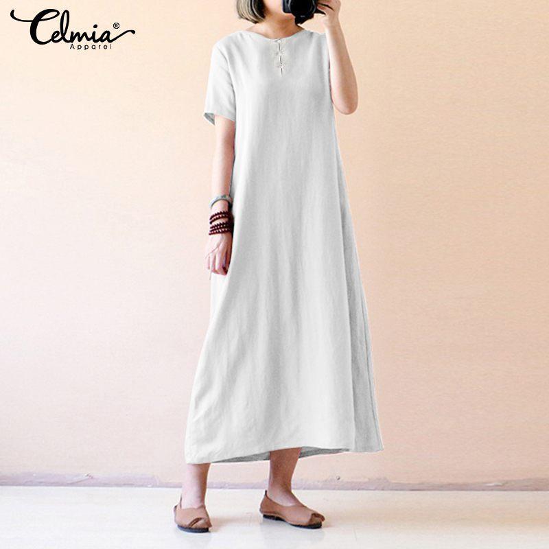 3955f1020e224 S-5XL Celmia Women Vintage Cotton Dress 2019 Summer Buttons Shirt Dress  Short Sleeve Casual Loose Party Beach Maxi Long Vestidos
