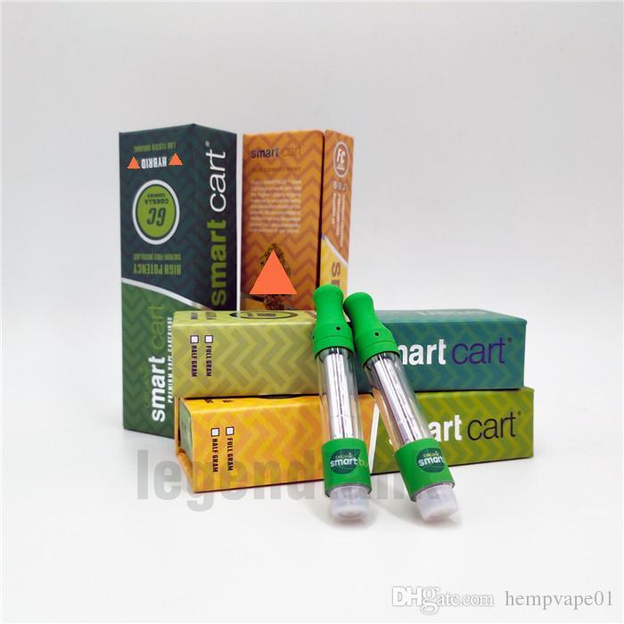 Smart Dank Vapes Cart top airflow vape cartridges packaging Ceramic Coil  0 8 1 0ml Glass Tank Vaporizer Pens for Thick Oil