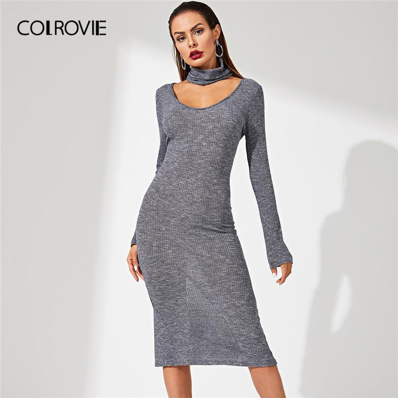 97fe7138787 COLROVIE Grey Solid Choker Necklace Rib Knit Bodycon Office Wear Sweater  Dress Women 2018 Long Sleeve Sexy Casual Midi Dress Woman Dress Affordable  Prom ...
