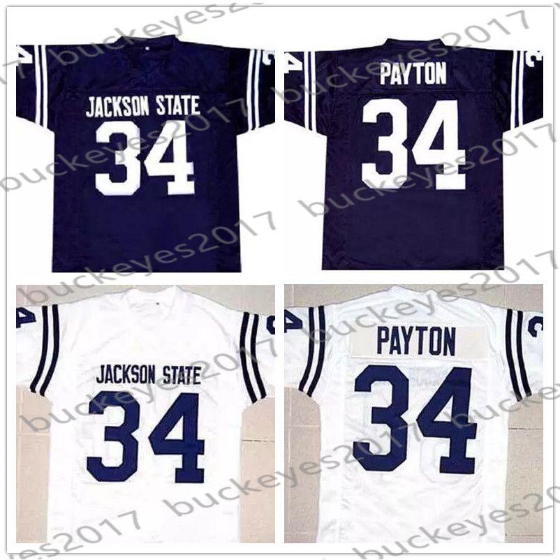 separation shoes de053 632e3 Jackson State Tigers #34 Walter Payton Navy Blue Retro NCAA Jersey JSU CHI  College Football White Orange Vintage Men Youth Kid Women S-4XL
