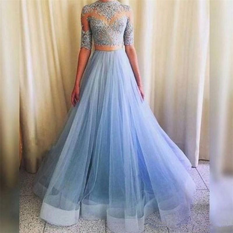 Lace Appliques Formal Evening Dress Celebrity Party Ball Gown Two Pieces Bridal Gown Special Occasion Prom Bridesmaid Party Dress 17LF582