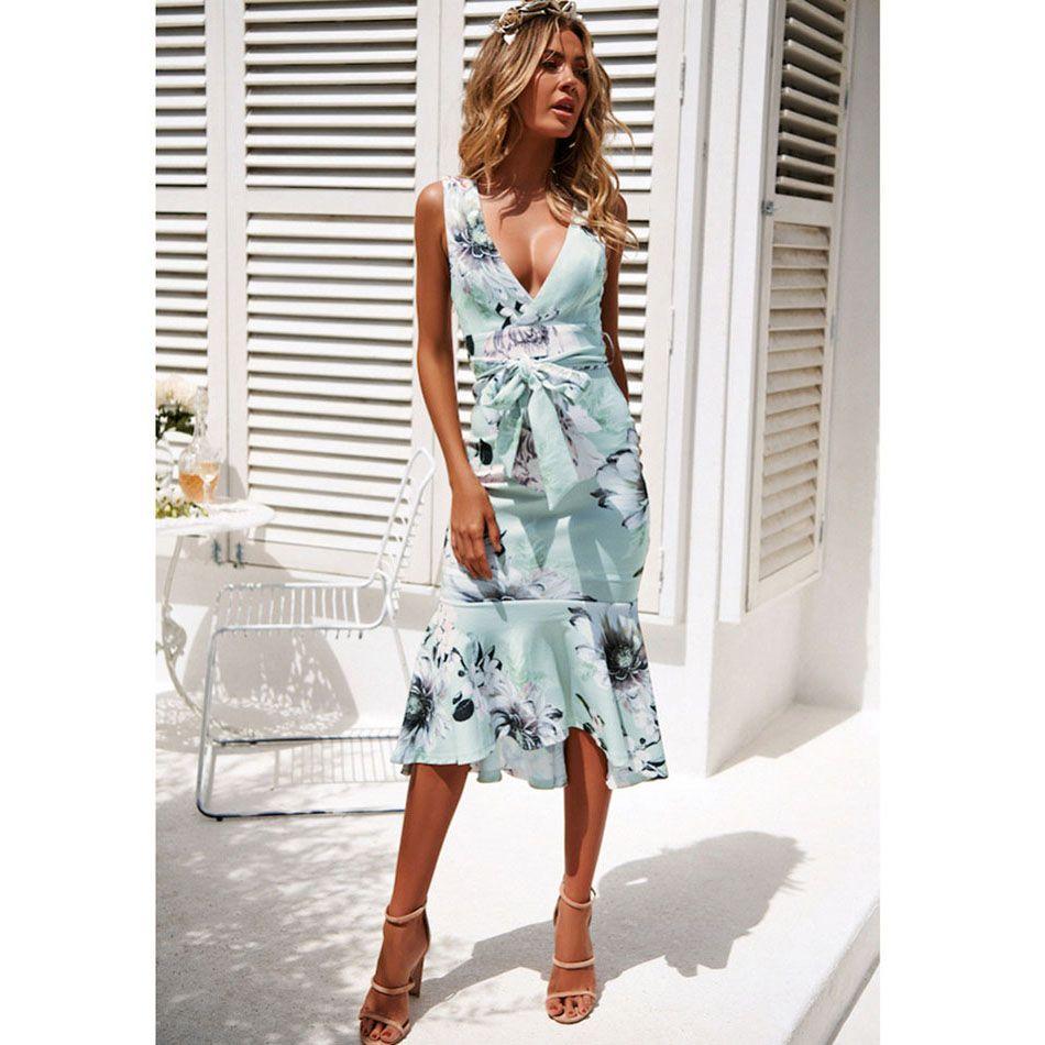 5d1519dd73655 2019 2019 Hot V Neck Sleeveless Print Ruffled OL Dress Bohemian Style Long  Maternity Dress Beach Maxi Dress A1923 From Lisamami, $16.59   DHgate.Com