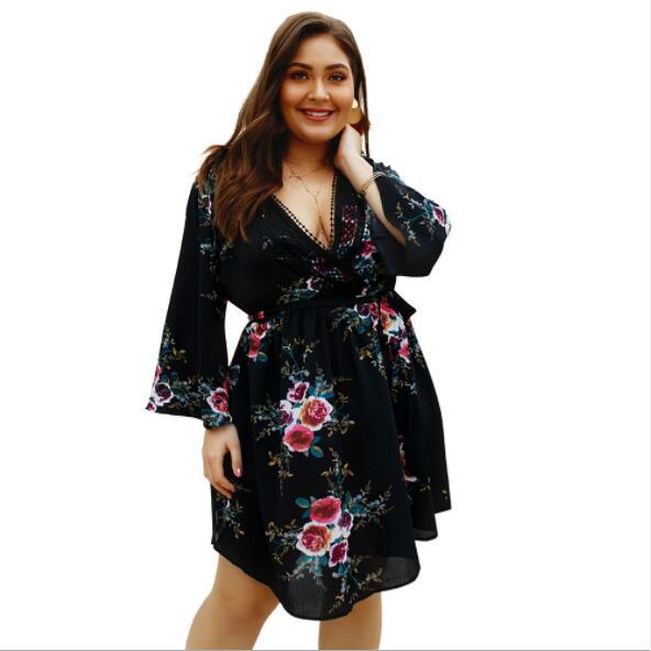 Plus Size Summer Dresses For Women Casual Dresses With Flora Printted Spring Antumn Fashion Lady Skirts 4 Styles XL-4XL Size A-Line dress