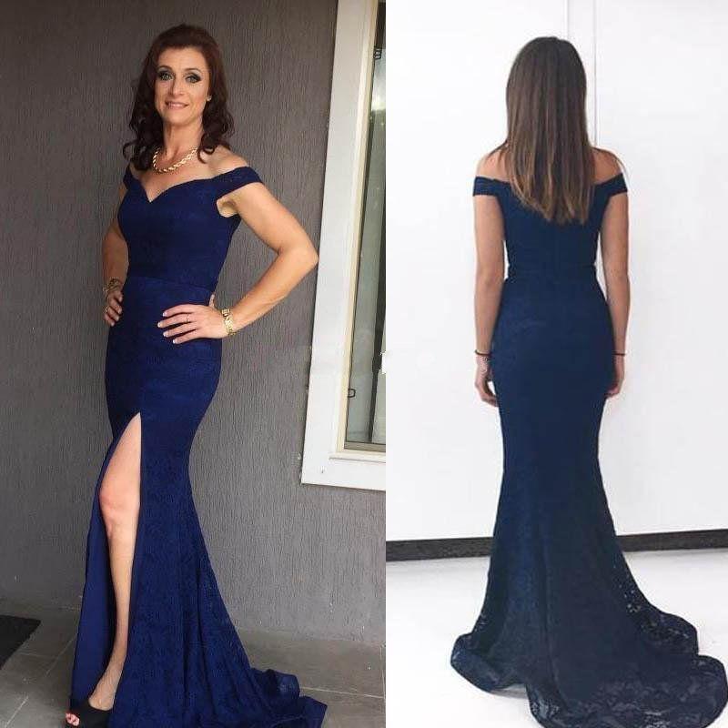 8b311e0ab1885 Modelo De Vestido Para Formatura Azul Marinho Sereia Vestidos De Noite Fora  Do Ombro Sexy Dividir Lace Prom Vestidos Elegantes Vestidos De Noite Com  Fenda ...