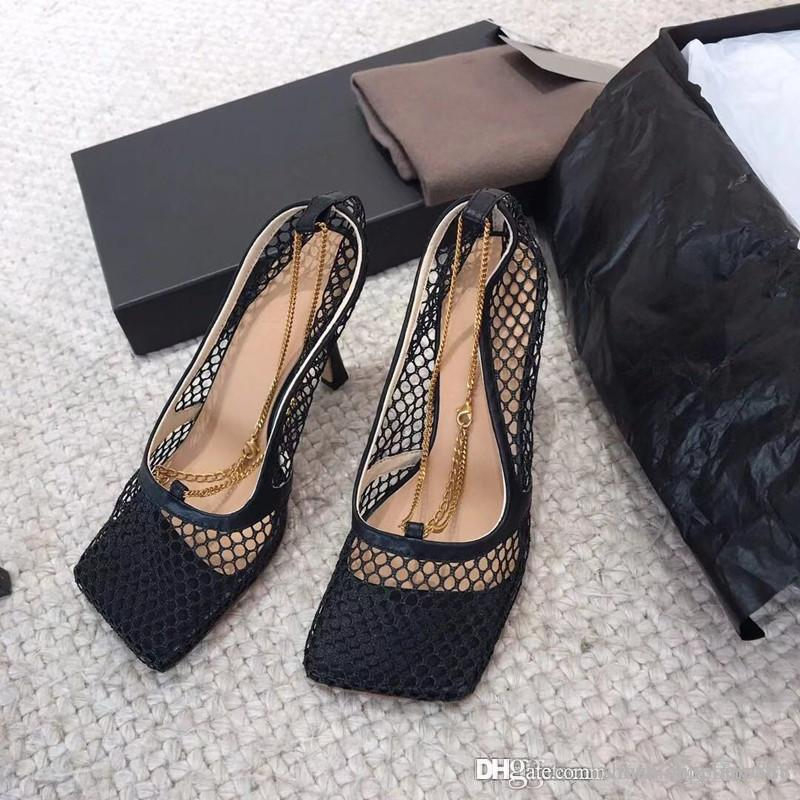 Breathable mesh shoes for women wear ,high heels Hollowed-out sandals , Square - billed leather soles slippers Size 35-39