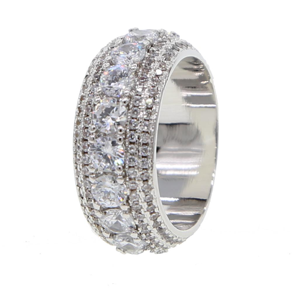 New hip hop ring size #7-10 Silver color sparking bling USA men boy ICED  OUT engagement rings for men