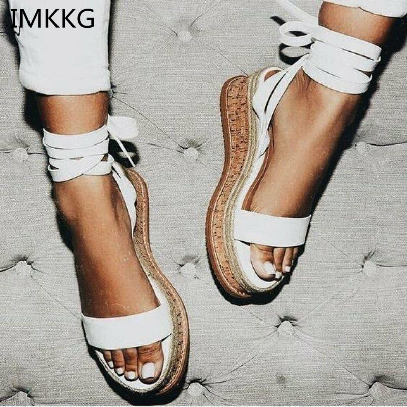 dd38b83442d IMKKG Summer White Wedge Espadrilles Women Sandals Open Toe Gladiator  Sandals Women Casual Lace Up Women Platform Sandals m364