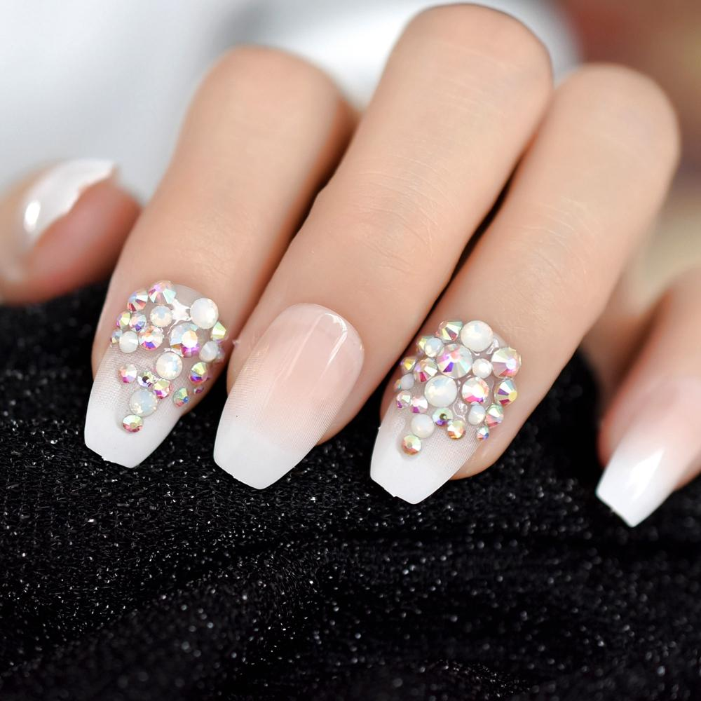 Ab Rhinestones Designed Ombre French Nail Ballerina Gradient Natural
