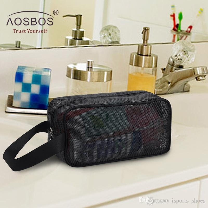 Aosbos 2019 Mesh Cosmetic Bag Zipper Borsa da trucco Magic Travel Pouch Per uomini Donne Quick Dry Toilette Storage Plastic Wash # 110291
