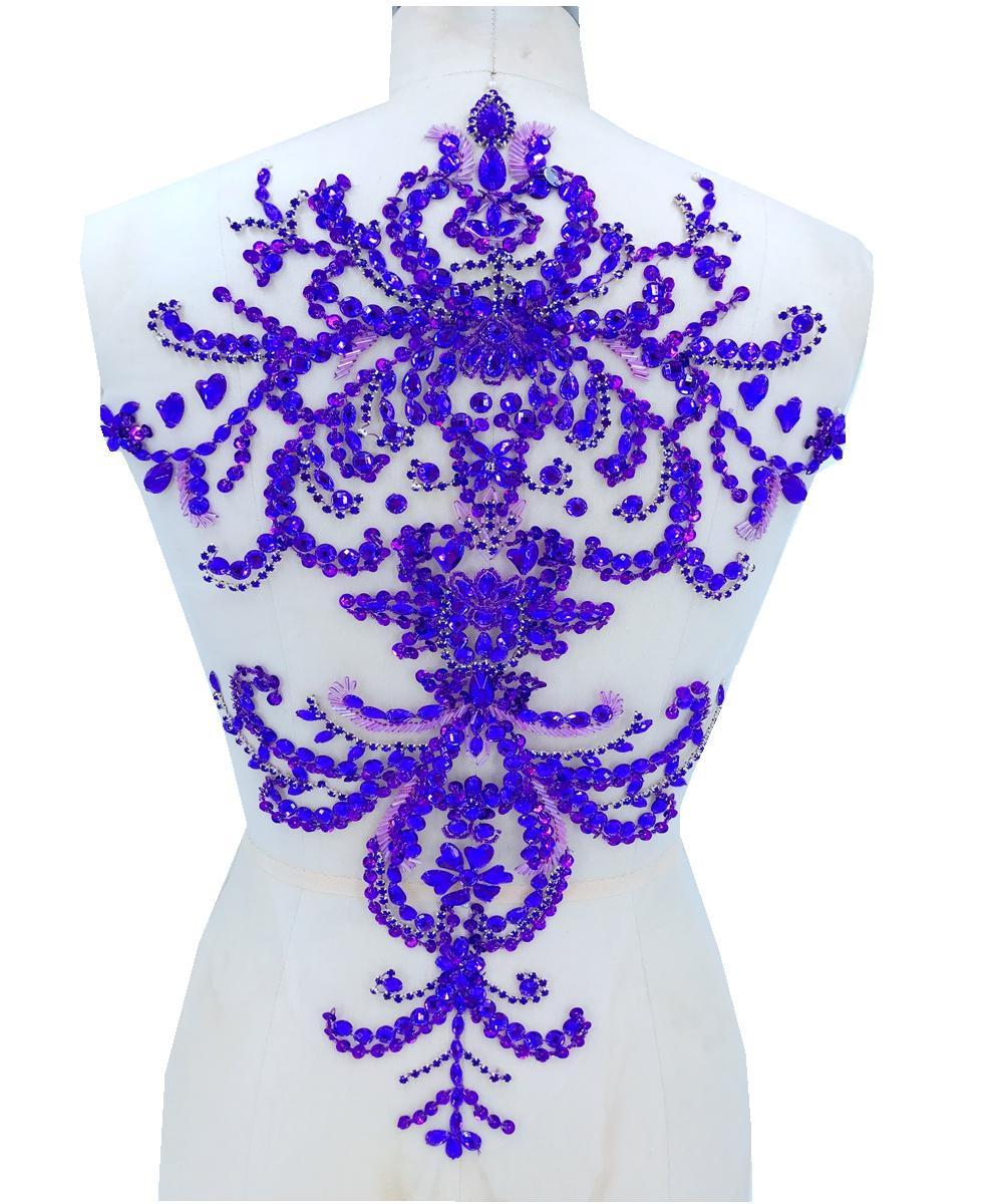 7153ef229d Compre Coser Apliques De Pedrería Morado En Malla 52   33 Cm Parches  Recortar Para Vestir Accesorios De Bricolaje A  37.19 Del Fashion29