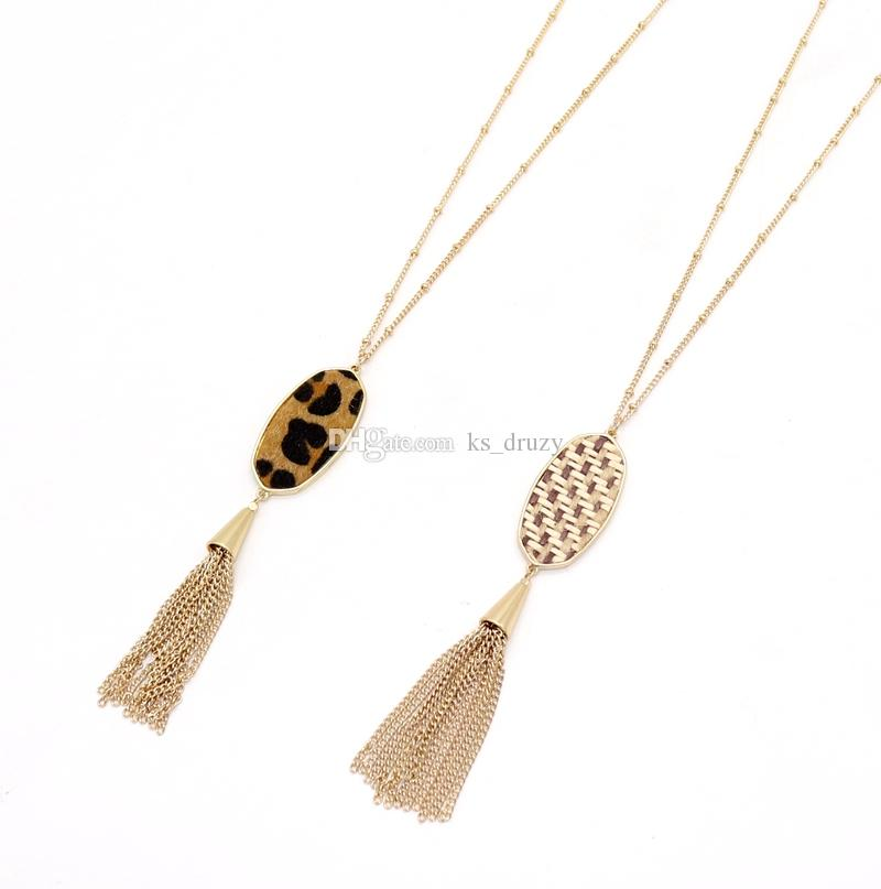 New Fashion Hexagon Pendant Tassel Necklaces Straw Leopard Print Braided Sweater Long Chian Necklace New York Kendra Scott Jewelry