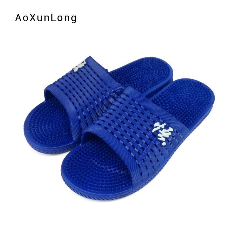 más vendido elige genuino modelos de gran variedad Ventas calientes para hombres Zapatillas de masaje Hogar Interior Azul Baño  Sandalias Hollow Superior Suave Chanclas planas antideslizantes Zapatillas  ...