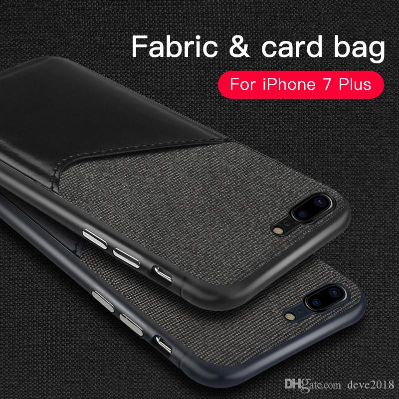 sale retailer 664df 70bf9 iPhone 7/7Plus Card Pocket Phone Case Leather and Cloth Switching Close  Skin Five Colors Protector
