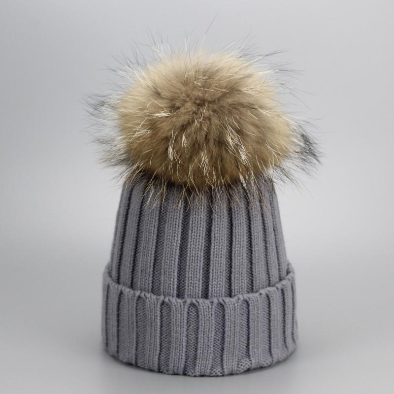 097ebb68472 Real Fur Winter Hat Raccoon Pom Pom Hat For Women Brand Thick Women ...