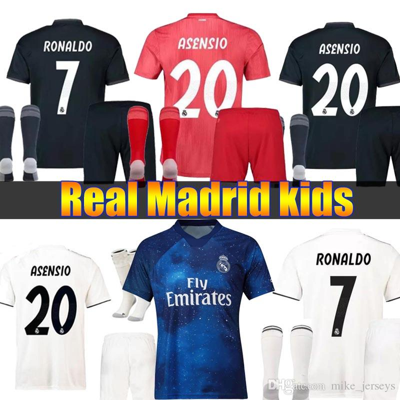 c3fdb33f553 2019 2019 Real Madrid Ea Sports Kids Kit Soccer Jerseys 2018 19 Home Away  3RD Boy Child Youth Modric ISCO BALE KROOS Football Shirts From  Mike jerseys