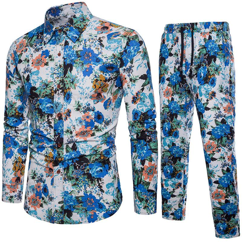 2018 Spring Summer New Style Fashion Floral Print Men's Set Shirt+Pant Casual Shirts Suits Cotton Linen Material Plus Size 5XL