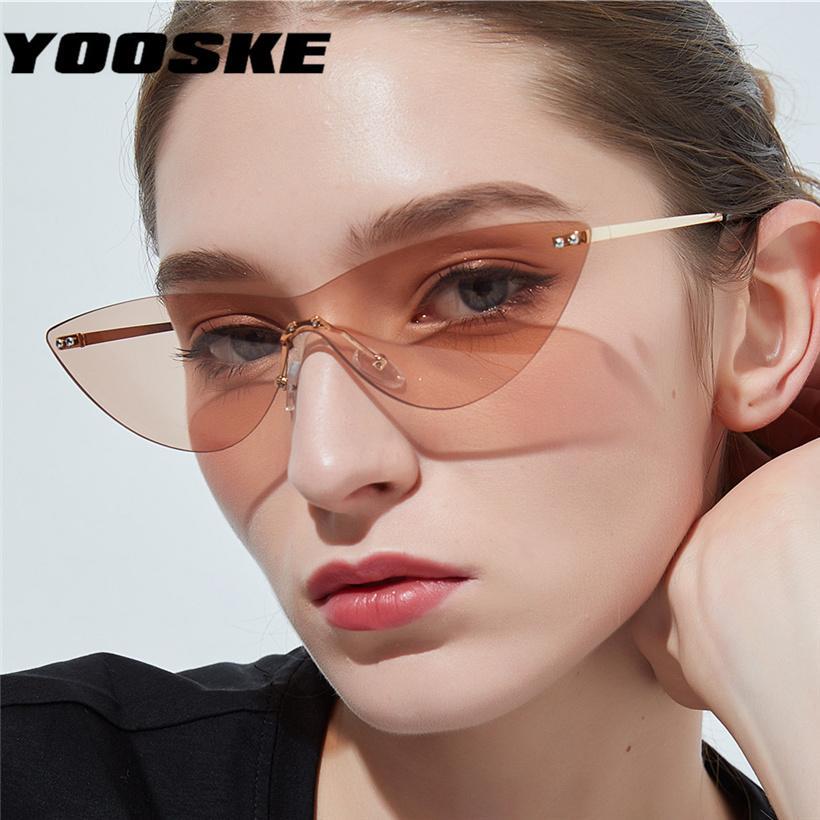 6312e044564a1 Compre YOOSKE Gafas De Sol De Ojo De Gato Para Mujeres Fashoin Metal Sin  Montura Gafas De Sol Hombres Retro Gafas De Marca Señoras De Moda Espejo  Espejo A ...