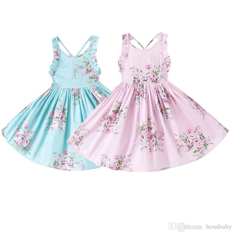 Girl Broken Flowers Dresses Big Girl A-Line Pleated Dress Floral Printing Ruffle Backless Dress Kids Dresses Kids Designer Dress Girls