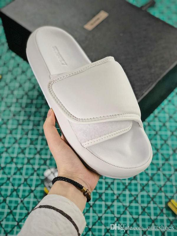 (With Box)Fast Shipping Kanye Season 7 Slides Top Quality Men Women Black White West Slippers