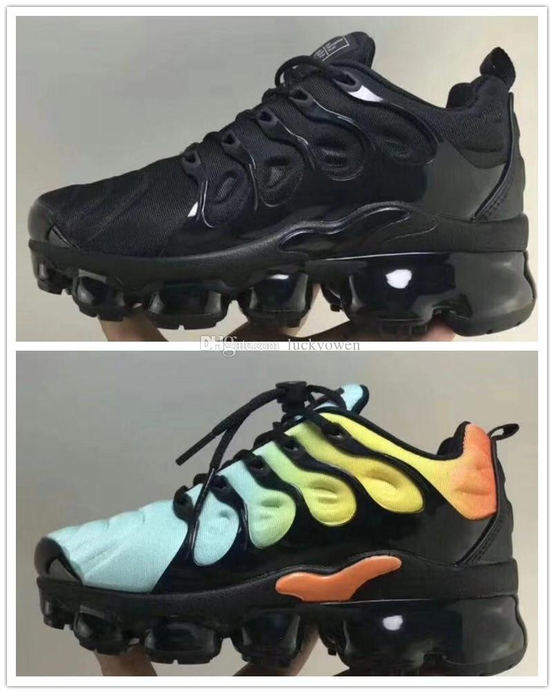6de73c909f80 Acheter Nike TN Plus Air Max Airmax Vapormax Nouveau Enfants Plus Tn Garçon  Fille Enfants Parent Enfant Chaussures De Sport Pour Bébé Mode Sneaker Noir  ...