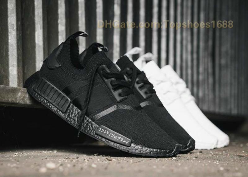 the best attitude 9359b f8d06 Nmd New Japan Pack Triple White Bz0221 Triple Black Bz0220 Real Boost Nmd  R1 Primeknit Running Shoes Small Nipples Boost Without Box