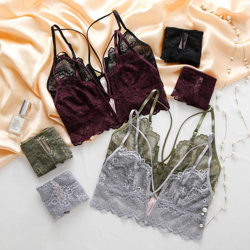 14051823fdb6 2018 Women Lingerie Bra & Brief Sets Lace Embroidery Bralette Ultra ...