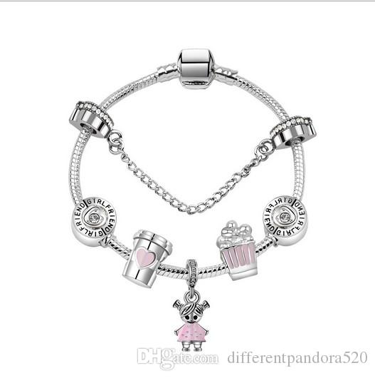 cf127929e 2018 Pandora Style Charm Bracelets 925 Sterling Silver Coffee Cup Girl  Popcorn European Charms Beads For Charm Bracelets Bangles DIY Jewelry Charms  For ...