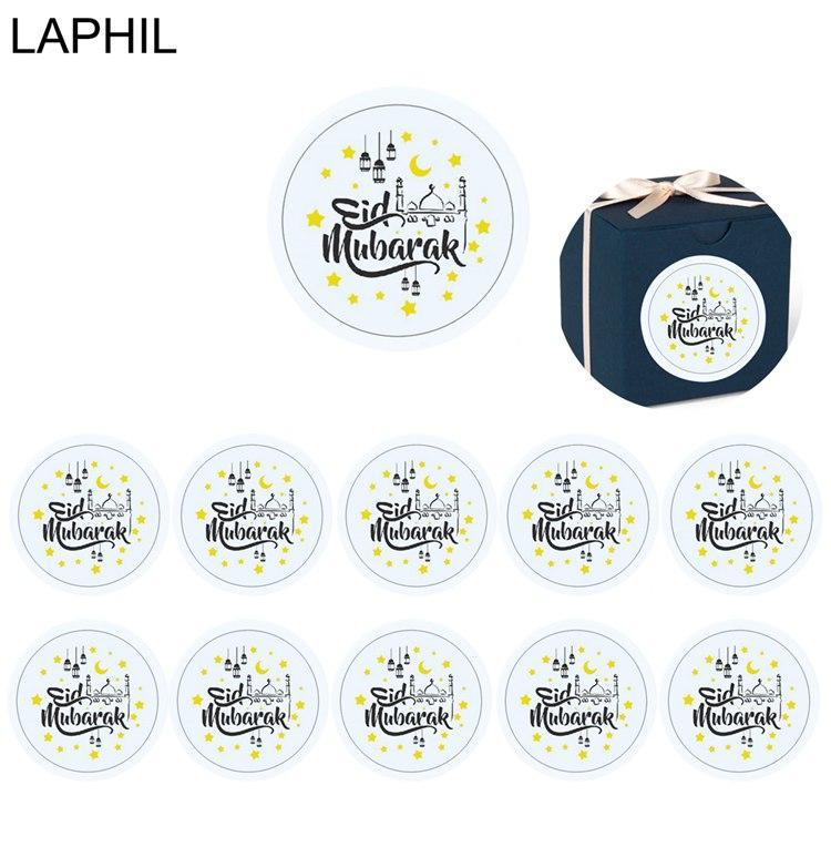 LAPHIL 60 adet Eid Mubarak Dekorasyon Kağıt Sticker Etikel Mühür 4 cm Hediye Sticker İslam Müslüman Mübarek Dekorasyon Ramazan Malzemeleri