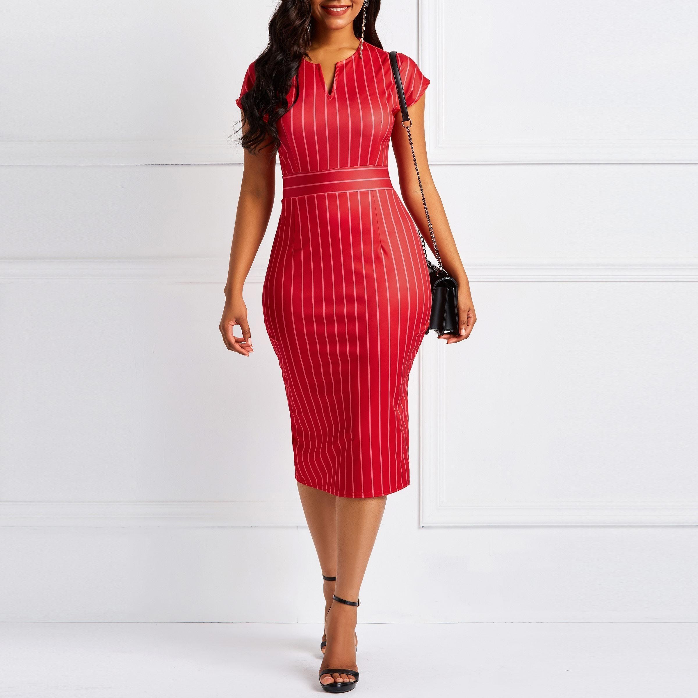 0dc7185a5b4 2019 Clocolor Office Ladies Red Stripe Dress Women Bodycon Vintage Back  Split High Waist Summer Short Sleeve Female Pencil Midi Dress Y190427 From  Tao01