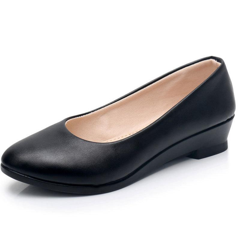 d39d4289f9e New Ladies Black Pumps Formal Low Heel Wedges Shoes Comfort Women Office  Shoes Leather Pumps Work Office Mom Shoes Womens Pumps Black Shoes Nude  Shoes From ...