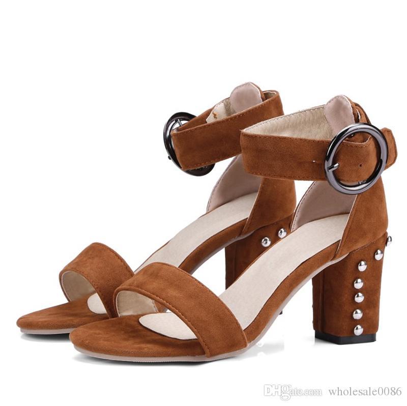4e7a18cc Compre Para Mujer Damas Tacones Altos Vestido Sandalias Remaches ...
