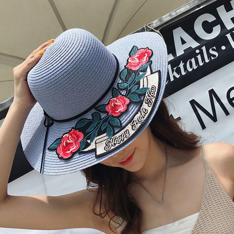 cf5196d0b7059 Spring Summer Hats Women Cute Flower Knitting Wide Brimmed Hat Flat Beach  Sunhat Cute Decal Broad Brim Sunhat Hats In The Belfry Knit Hats From  Naixing