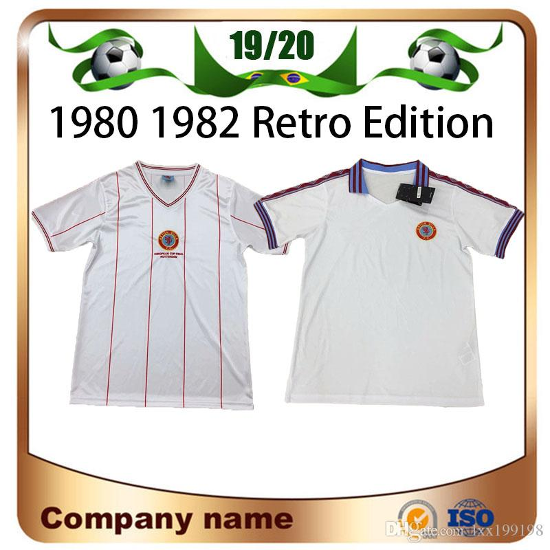 1982 Retro Version Aston Villa Soccer Jerseys 1980 Aston Villa White Short sleeve TOP QUALITY Football shirt uniform