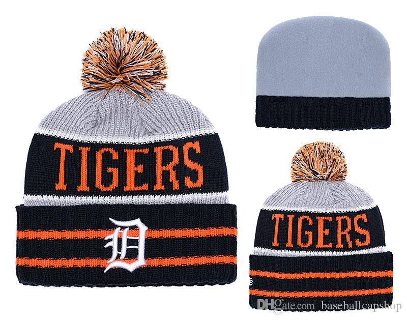 ec5380310d79f Top Quality One Piece Cheap Tigers Baseball Beanies Team Logo Embroidered  India Cuffed Knit Hat Sport Detroit Skull Men Women Winter Caps Cap Shop  Knitted ...