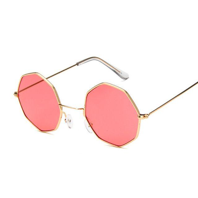 abd3a853c Compre Oval Octagon Amarelo Vermelho Rodada Óculos De Sol Para As Mulheres  Espelho Hexágono Pequenos Óculos De Sol Do Vintage Steampunk Mens Claro Sol  De ...