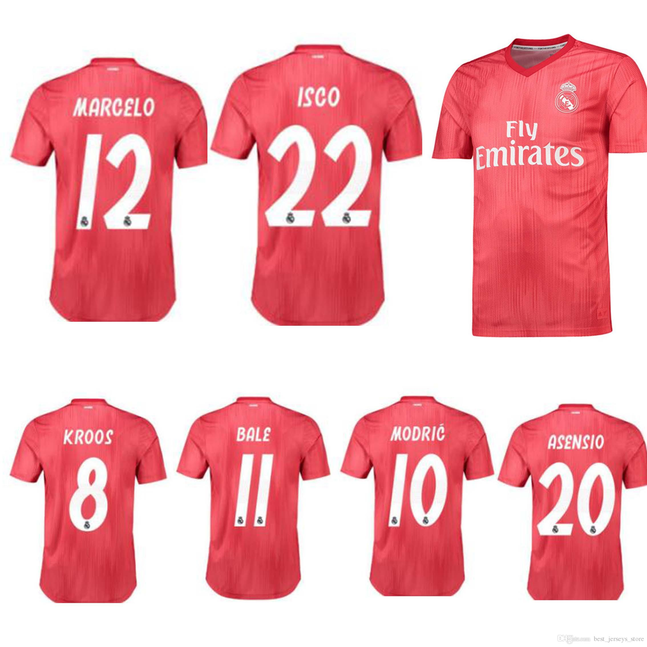 separation shoes 98e62 d0608 New hot selling Real Madrid 3rd red Soccer Jerseys 18/19 Real Madrid third  Soccer Shirt 2019 BALE Football Uniforms ASENSIO ISCO