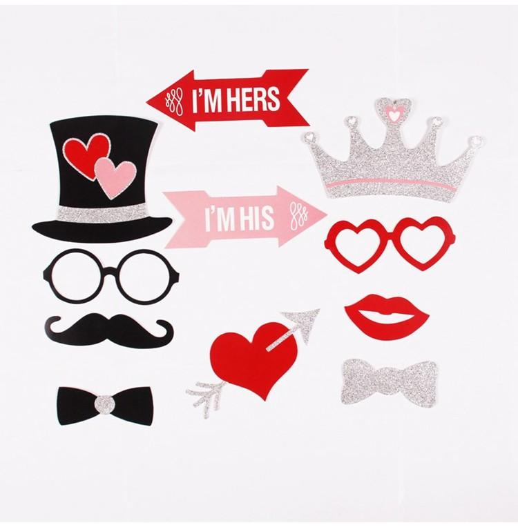 FENGRISE Just Married Photo Booth Props Photobooth Wedding Favors Glasses Paper Card Funny Mask Party Decoration Photocall