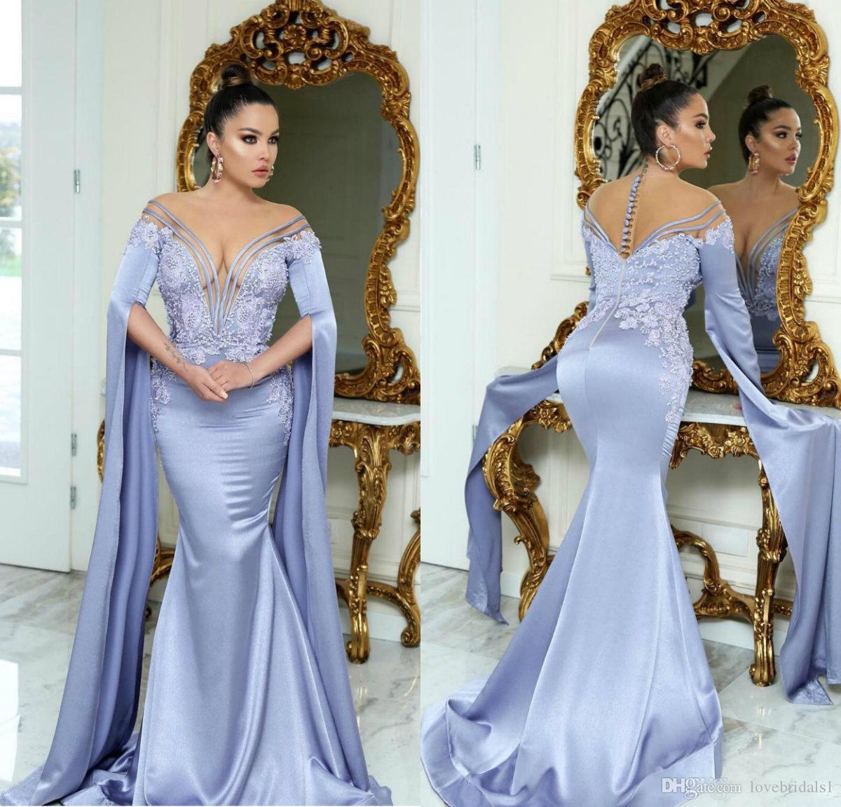 8142d3f42c 2019 Lavender Mermaid Dubai Evening Dresses With Poet Long Sleeve Muslim  Arabic Style Applique Elegant Prom Dress Vestido Longo Simple Evening  Dresses Uk ...