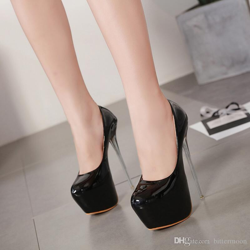 5c57fcda9c4a 2019 New Platform Pumps Thin Crystal Heel 16cm Women High Heels Round Toe  Single Shoes Patent Leather Beige Black Cheap Shoes Dansko Shoes From  Bittermoon