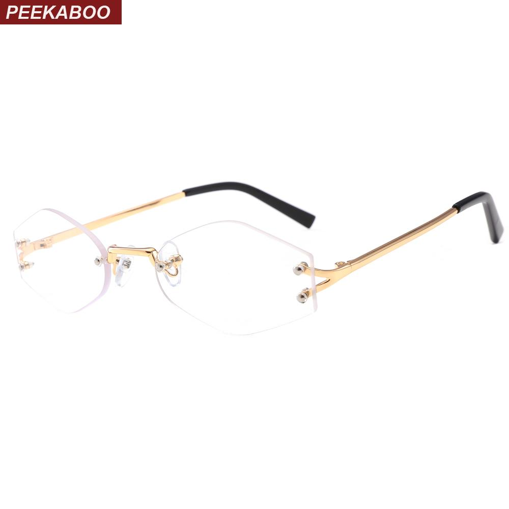 e88bb24fdef9 2019 Peekaboo Clear Lens Rimless Eye Glasses Small Frames For Women 2019  Gold Polygon Eyeglasses Frames For Men Decorative Rhombus From  Marquesechriss