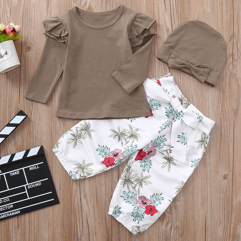6383b7c71f4b4 2019 Good Quality Kids Winter Clothes Baby Girls Clothing Set Solid Tops T  Shirt Floral Print Pants Hats Kids Clothes Roupas Menina From Superbest12,  ...