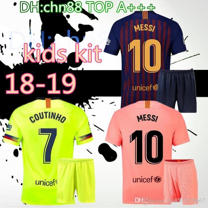 pretty nice 1c8f5 8798d 18 19 KIDS barcelona MESSI Soccer Jersey 2018 2019 BOYS COUTINHO Soccer  Shirt O.DEMBELE SUAREZ RAKITIC Club 3rd home Football kids Uniform