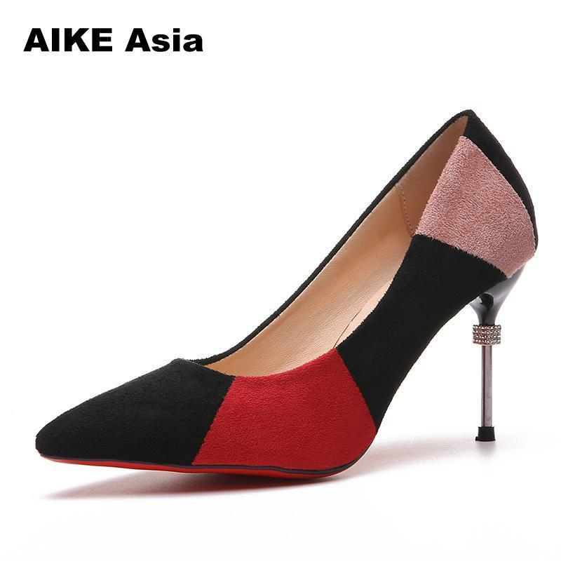 c27f87691a 2019 Women Pumps Sexy Pointed Toe Luxury Metal High Heels Shoes Woman  Spring Summer Party Wedding High Zapatos Color Matching Best Shoes Stacy  Adams Shoes ...