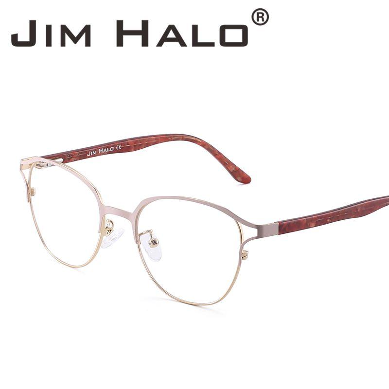 328c52c456 Jim Halo Brand Designer Fashion Non Prescription Glasses Spring Hinges  Metal Frame RX Able Eyeglasses Women Men Clear Lens UK 2019 From  Jimoptical