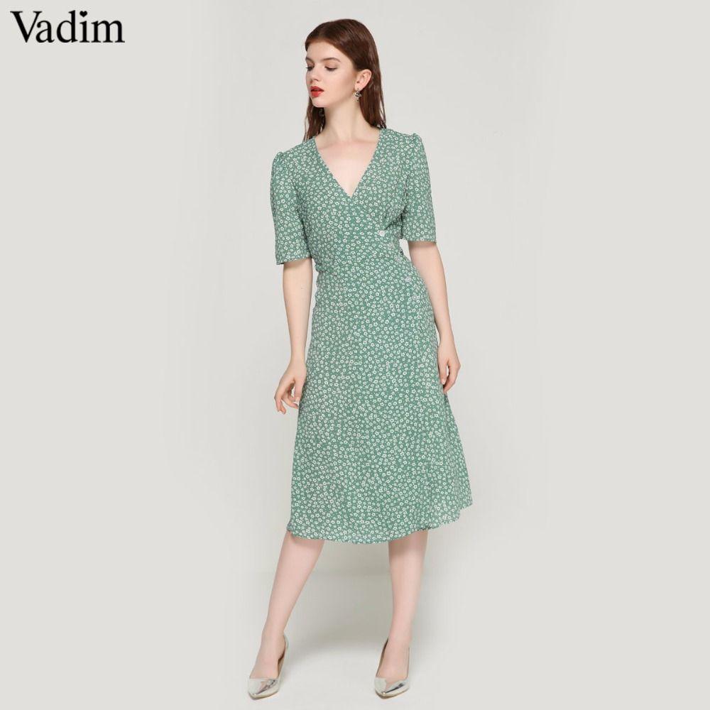 522673195904a Vadim vintage floral print wrap dress V neck bow tie sashes short sleeve  female streetwear chic mid calf dresses vestidos